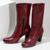 Kožené dámské kozačky vínové bata, červená, 694-5615 - 16