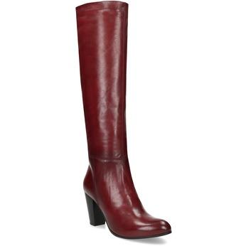 Vysoké dámské kožené kozačky bata, červená, 694-5614 - 13