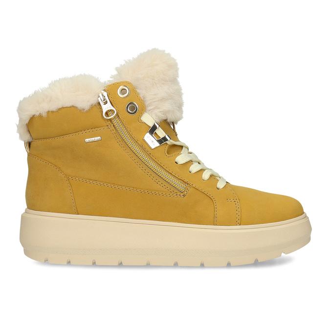 Žlutá dámská kožená zimní obuv geox, žlutá, 596-8542 - 19