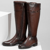 Tmavohnědé kožené kozačky ve vojenském stylu bata, hnědá, 594-4607 - 16