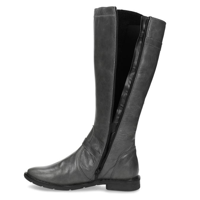 Šedé dámské kožené kozačky s přezkami bata, šedá, 596-2608 - 17