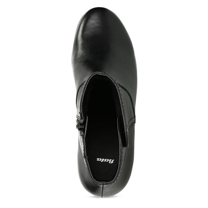 Černé kožené kotníčkové kozačky bata, černá, 694-6604 - 17