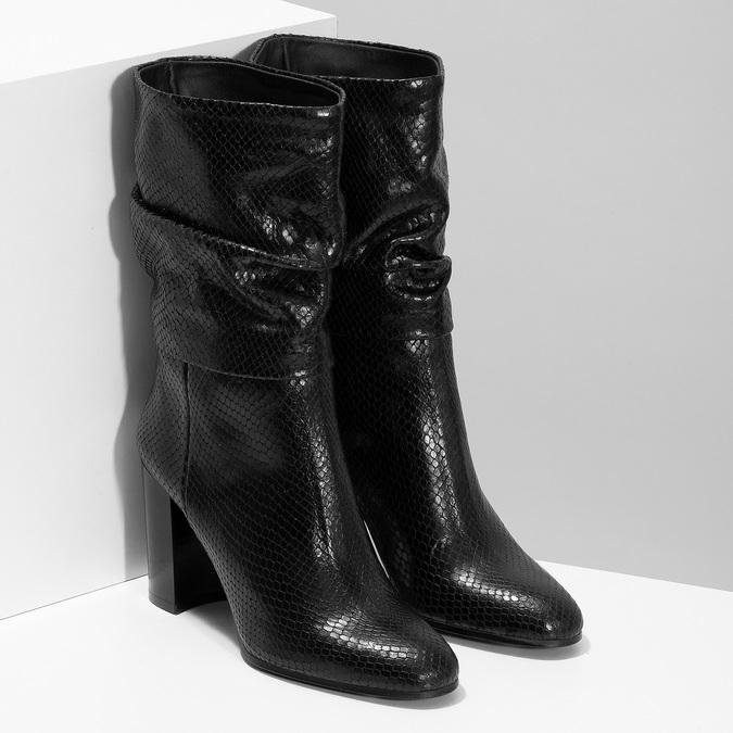 Černé kožené kozačky s řasením a strukturou bata, černá, 795-6600 - 26