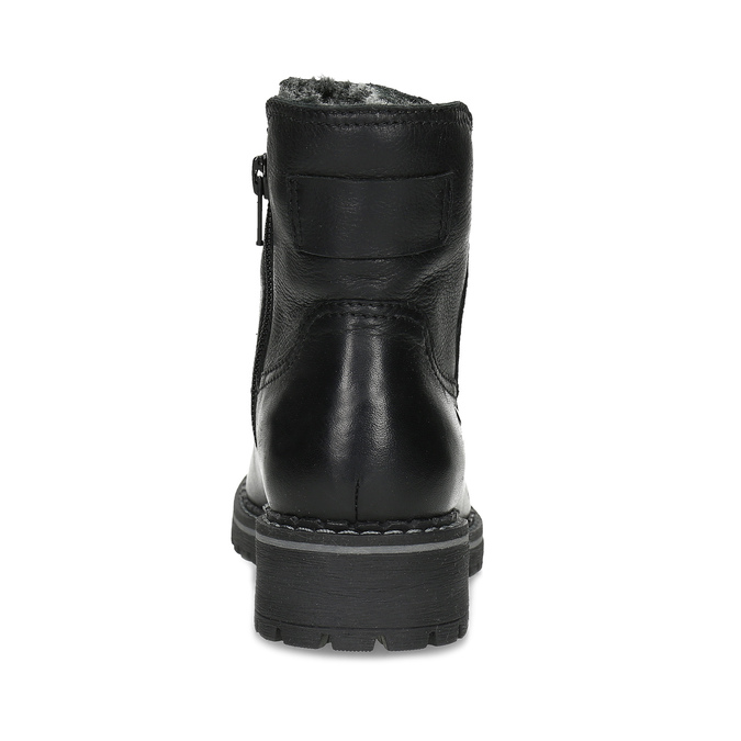 Dětské černá kožená kotníčková obuv s prošitím mini-b, černá, 396-6605 - 15