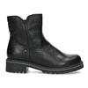 Dětské černá kožená kotníčková obuv s prošitím mini-b, černá, 396-6605 - 19