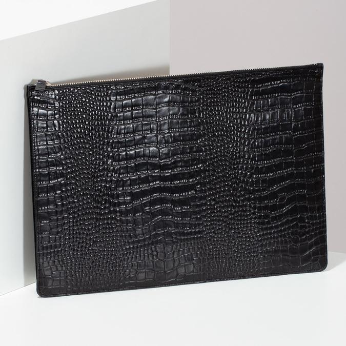 Černé kožené dámské psaníčko se strukturou vagabond, černá, 966-6020 - 17