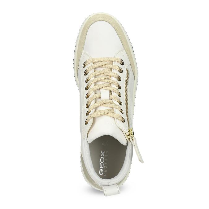 Bílé dámské kožené tenisky s kovovými cvočky geox, bílá, 546-1511 - 17