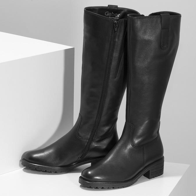 Dámské černé kožené kozačky šíře G gabor, černá, 594-6214 - 16