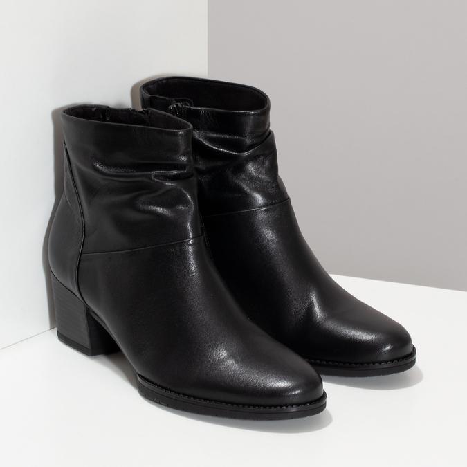 Černé kožené kozačky na stabilním podpatku gabor, černá, 628-6102 - 26