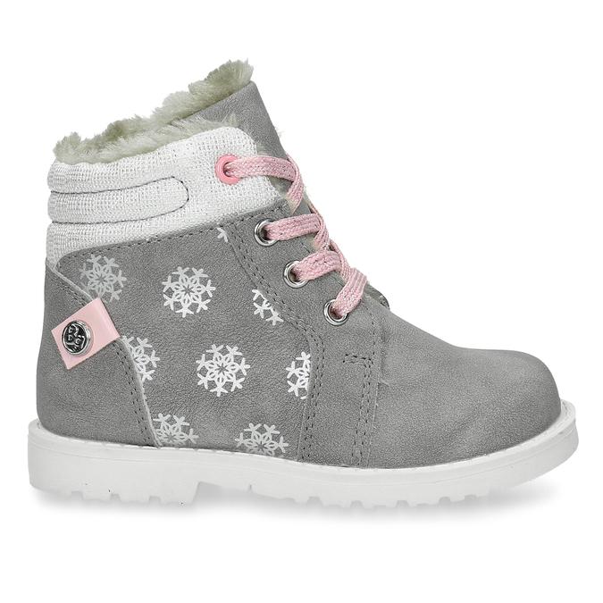 Béžová dětská zimní obuv s kožíškem bubblegummers, šedá, 191-2604 - 19