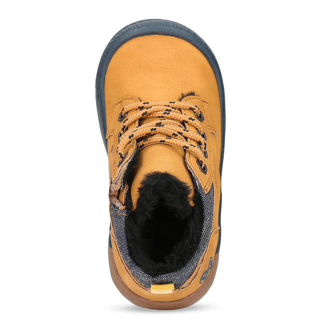 Žlutá dětská kotníčková obuv s prošitím bubblegummers, žlutá, 191-8603 - 17