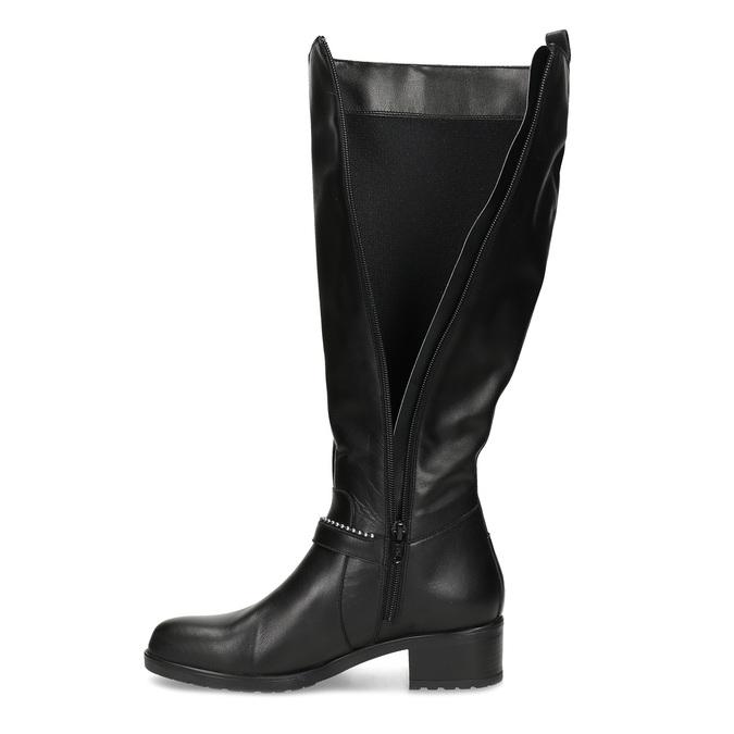 Černé kožené kozačky s přezkou bata, černá, 594-6666 - 17