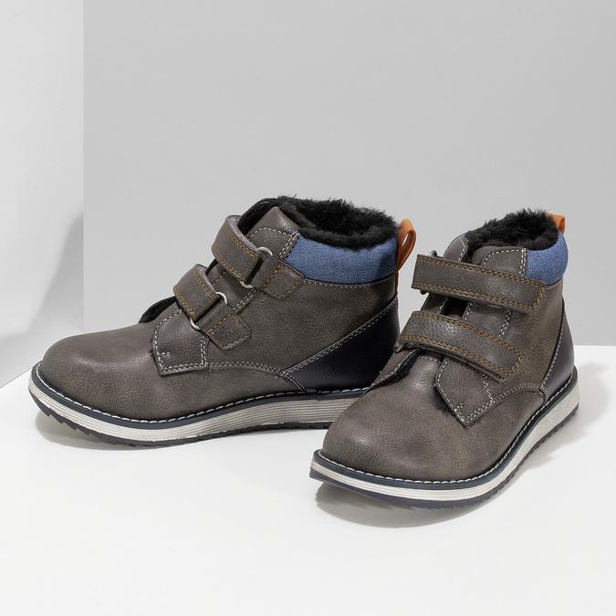 Hnědá kožená chlapecká zimní obuv mini-b, šedá, 291-4631 - 16