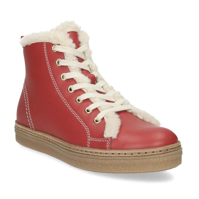 Kožená červená kotníčková obuv se zateplením weinbrenner, červená, 594-5600 - 13