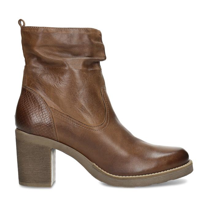 Hnědé kožené kozačky na stabilním podpatku bata, hnědá, 794-4618 - 19