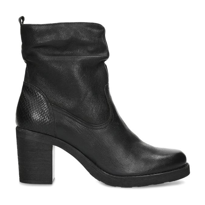 Kožené černé kozačky na stabilním podpatku bata, černá, 794-6618 - 19