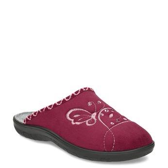 Dámské domácí nazouváky s výšivkou bata, červená, 579-5635 - 13