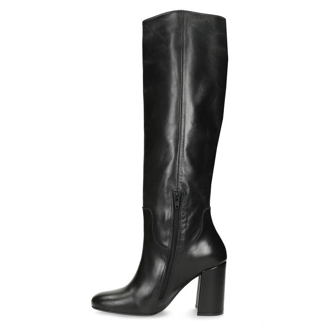 Černé kožené kozačky na stabilním podpatku bata, černá, 794-6624 - 17