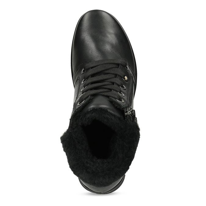 Dámská černá kožená kotníčková obuv comfit, černá, 594-6645 - 17
