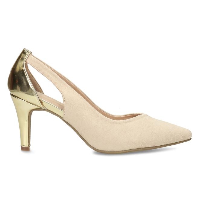 Béžové dámské lodičky se zlatou patou bata, béžová, 729-8621 - 19
