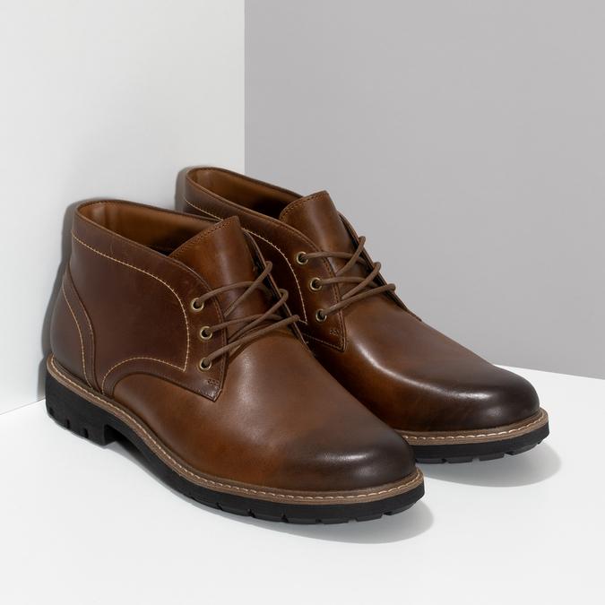 Pánská kožená hnědá kotníčková obuv clarks, hnědá, 846-4830 - 26