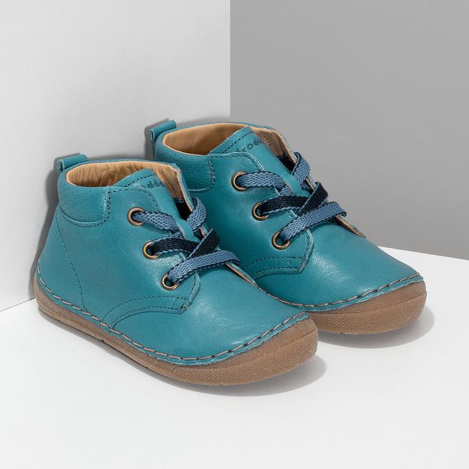 Modrá dětská kožená kotníčková obuv froddo, modrá, 114-9607 - 26