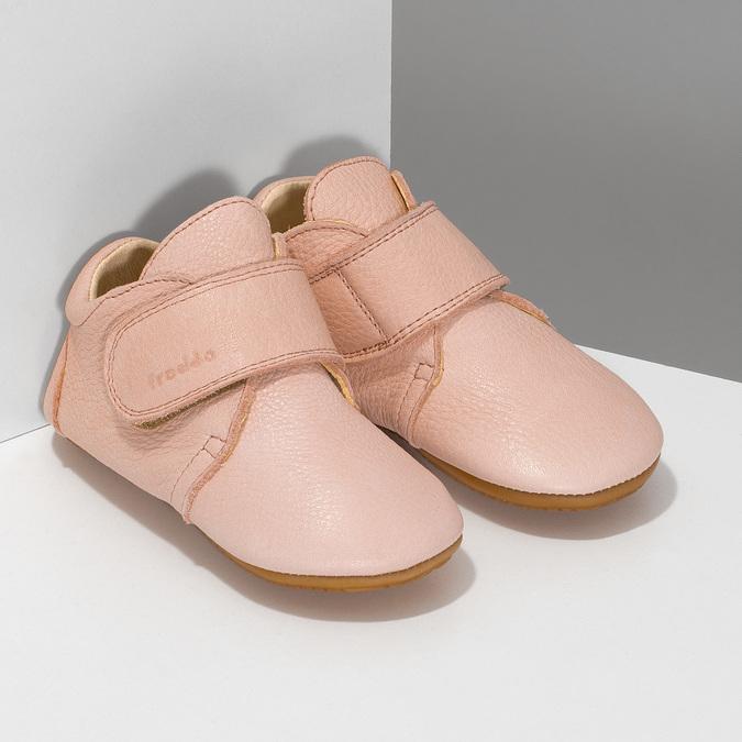 Růžová dětská kožená kotníčková obuv froddo, růžová, 124-5605 - 26