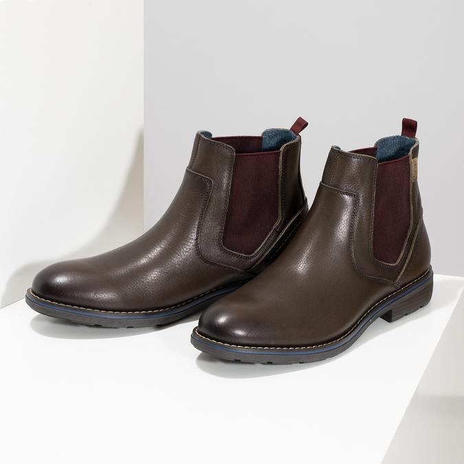 Kožená pánská kotníčková Chelsea obuv pikolinos, hnědá, 896-4816 - 16