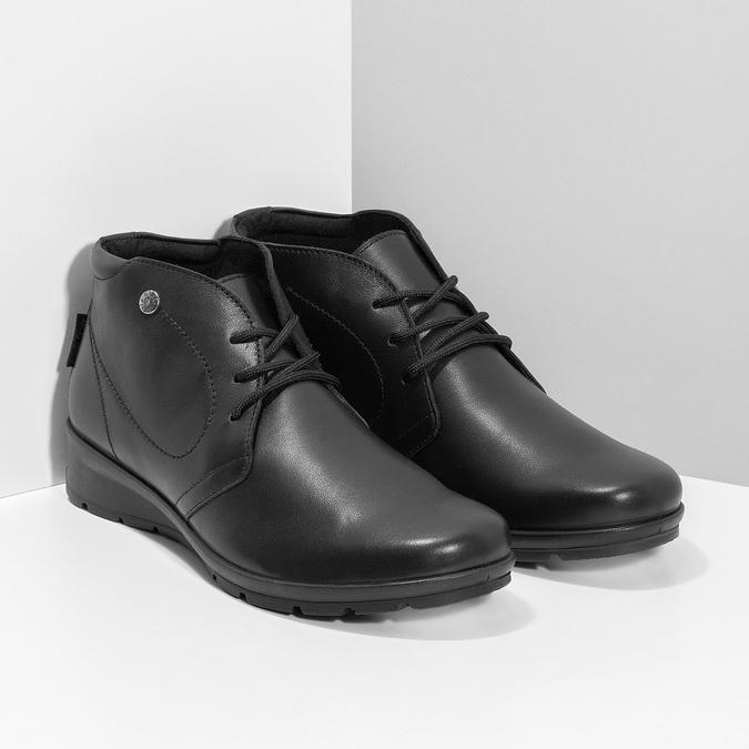Dámská černá kožená kotníčková obuv comfit, černá, 594-6707 - 26
