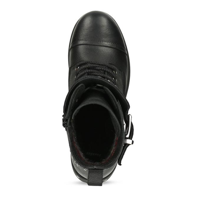 Dámské kožené kotníčkové kozačky se cvoky bata, černá, 596-6608 - 17