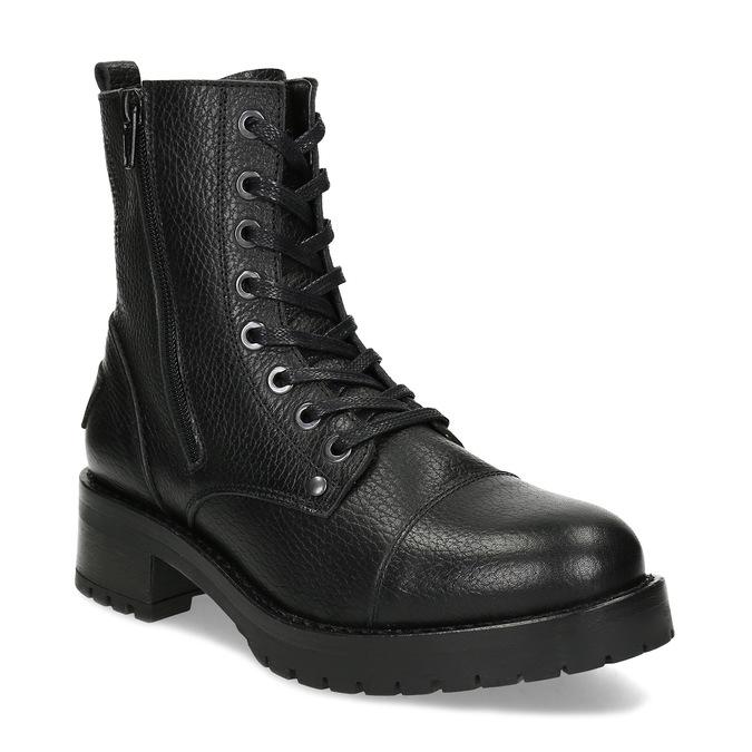 Černá dámská kožená šněrovací obuv bata, černá, 594-6618 - 13