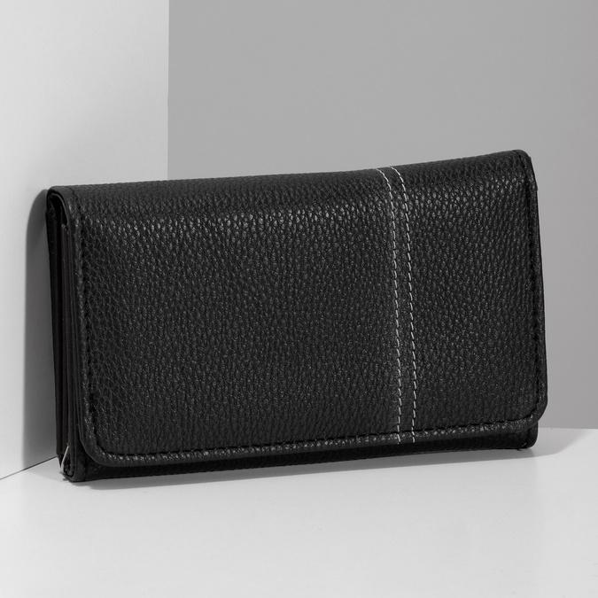 Černá dámská peněženka s prošitím bata, černá, 941-6620 - 17