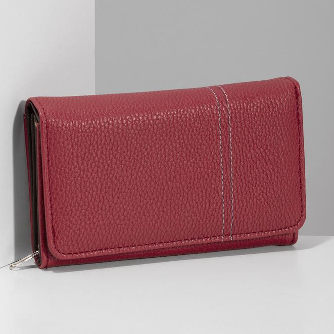 Červená dámská peněženka s prošitím bata, červená, 941-5620 - 17