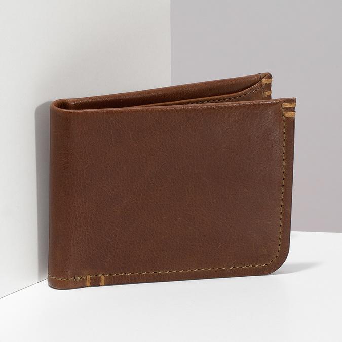 Pánská hnědá kožená peněženka bata, hnědá, 944-3214 - 17