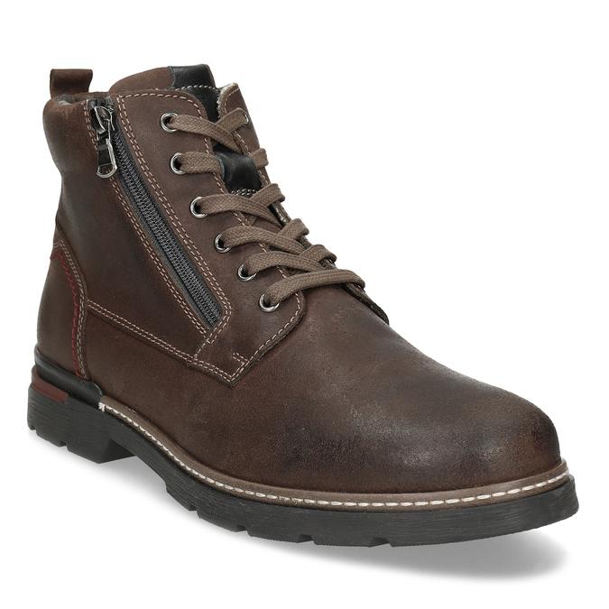 Pánská hnědá kožená kotníčková obuv bata, hnědá, 896-4601 - 13