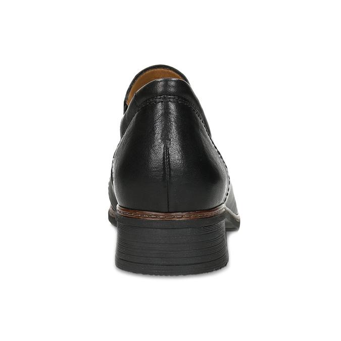 Dámské černé kožené mokasíny s prošitím gabor, černá, 626-6101 - 15