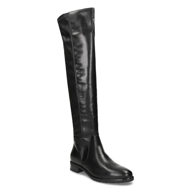 Černé dámské kožené vysoké kozačky bata, černá, 594-6623 - 13