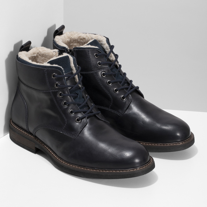 Pánská kožená kotníčková obuv se zateplením bata, modrá, 896-9749 - 26