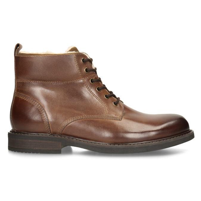 Kožená hnědá kotníčková obuv se zateplením bata, hnědá, 896-3749 - 19