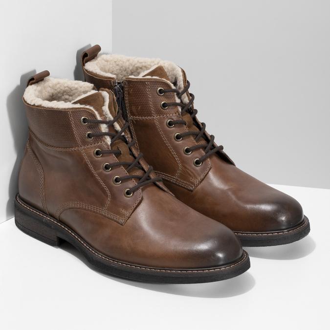 Kožená hnědá kotníčková obuv se zateplením bata, hnědá, 896-3749 - 26