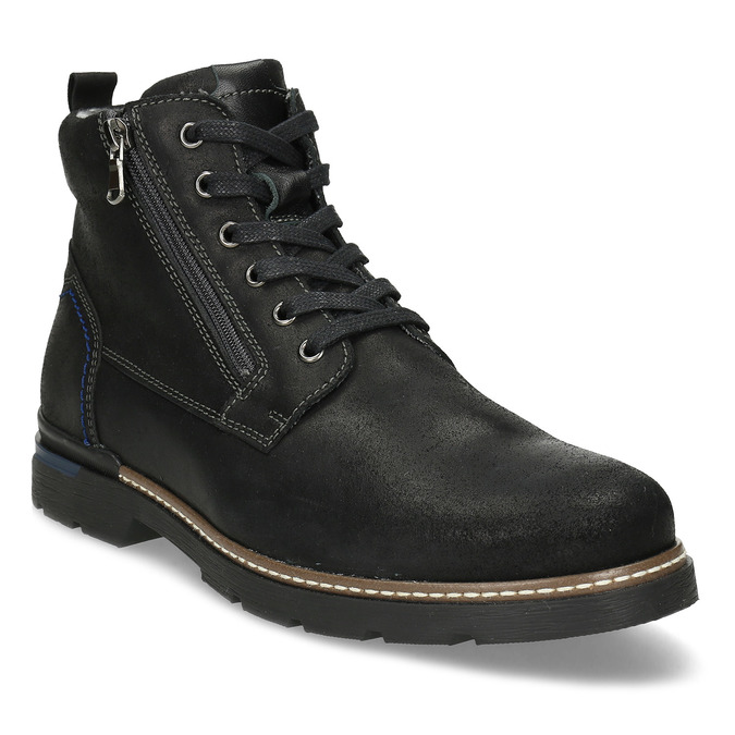 Černá pánská kožená kotníčková obuv bata, černá, 896-6601 - 13