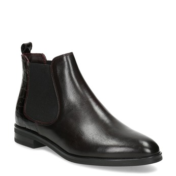 Vínová dámská kožená Chelsea obuv bata, červená, 594-5603 - 13