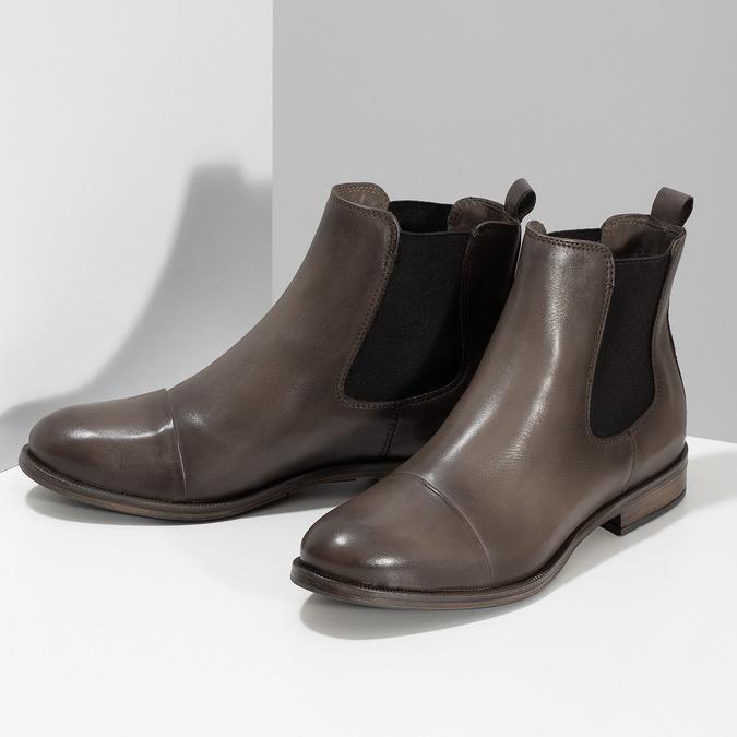 Hnědá kožená dámská Chelsea obuv bata, hnědá, 594-4626 - 16