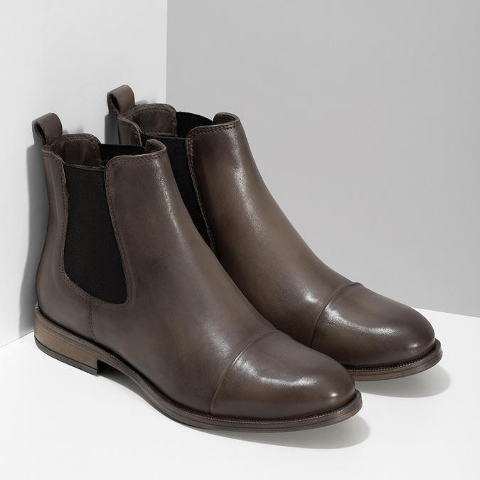 Hnědá kožená dámská Chelsea obuv bata, hnědá, 594-4626 - 26