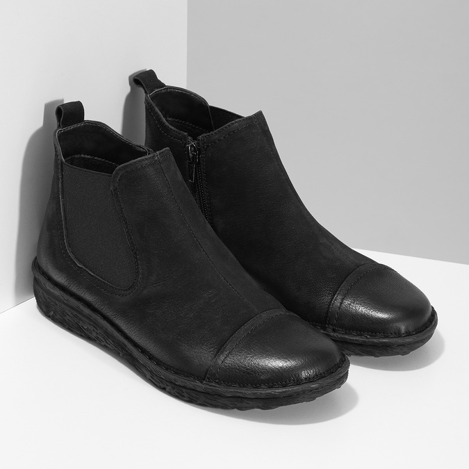 Kožená dámská kotníčková Chelsea obuv bata, černá, 594-6626 - 26