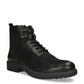 Pánská černá kožená kotníčková obuv bata, černá, 896-6752 - 13