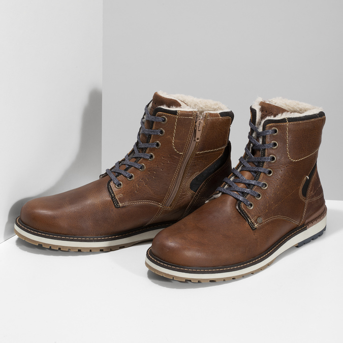 Hnědá pánská kožená zimní obuv bata, hnědá, 896-3746 - 16