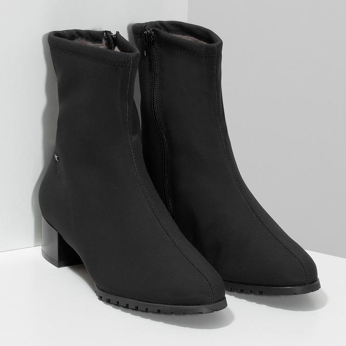 Dámské černé ponožkové kotníčkové kozačky hogl, černá, 699-6102 - 26