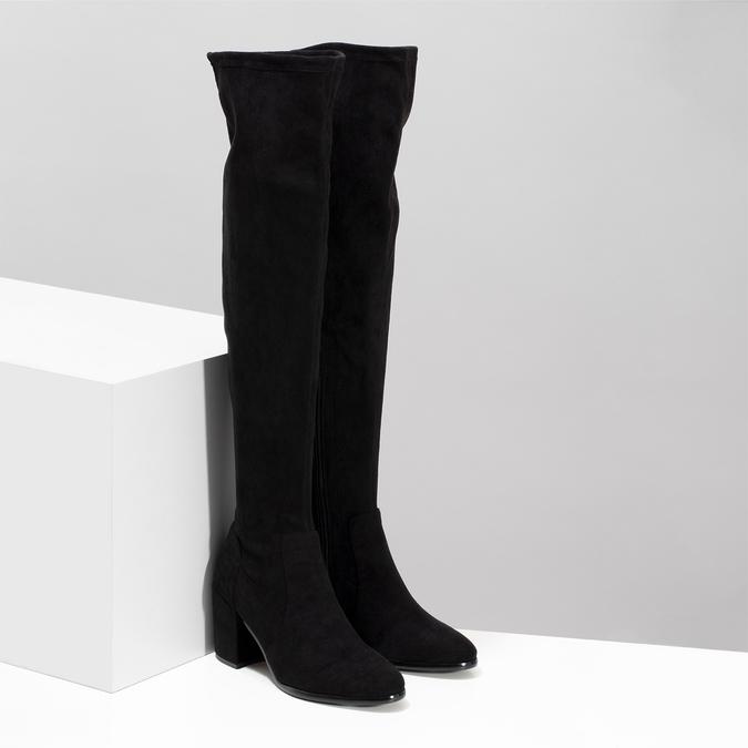 Vysoké černé kozačky na stabilním podpatku bata, černá, 699-6609 - 26