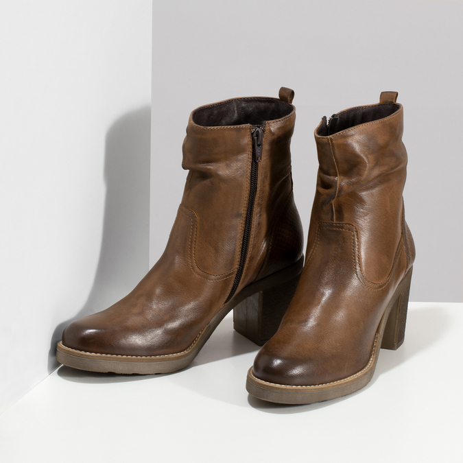 Hnědé kožené kozačky na stabilním podpatku bata, hnědá, 794-4618 - 16
